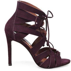 Steve Madden wine burgundy lace up heels sandals